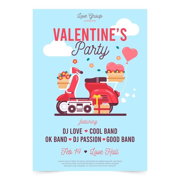 Mooie valentijnsdag partij poster sjabloon Premium Vector