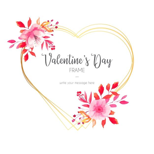 Mooie valentijnsdag uitnodiging met gouden frame Gratis Vector