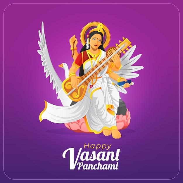 Mooie vasant panchami wenskaart Premium Vector