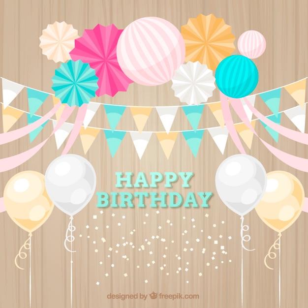 Mooie verjaardag decoratie met ballonnen en gorzen vector for Decoratie verjaardag