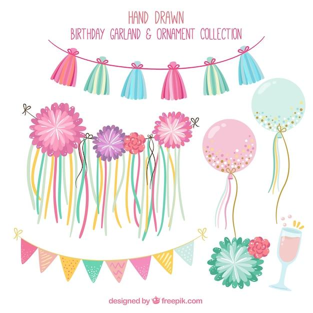 Mooie verjaardag decoratie pak vector gratis download for Decoratie verjaardag