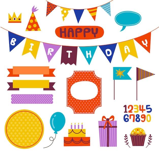 Mooie verjaardag plakboekelementen Gratis Vector