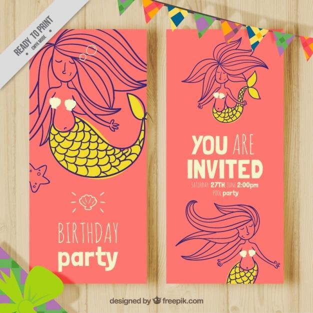 mooie verjaardagskaart met de hand getekende mooie zeemeermin vector