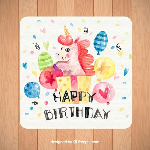 mooie verjaardagskaart met eenhoorn en aquarelballonnen vector