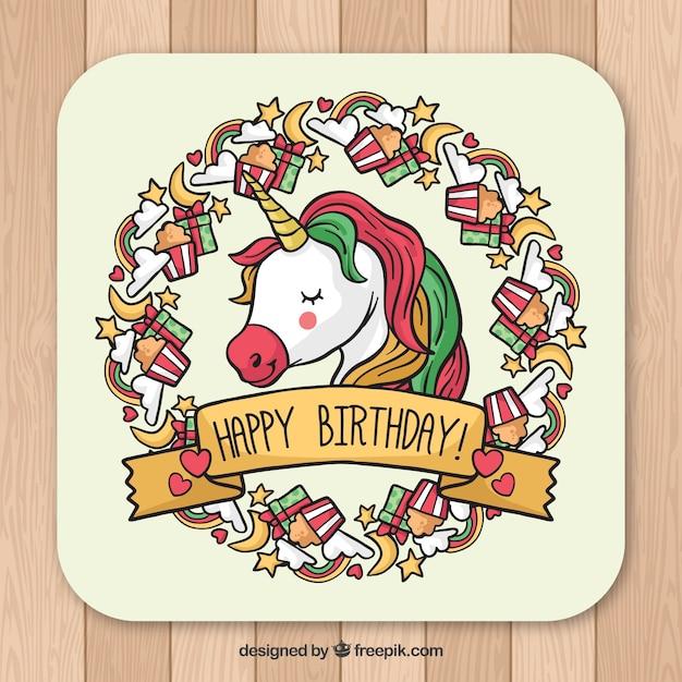 mooie verjaardagskaart met eenhoorn gezicht vector gratis download