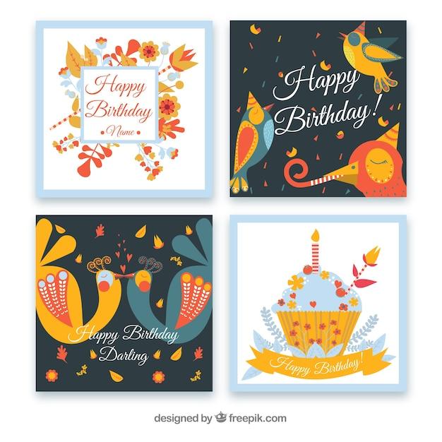 mooie verjaardagskaart sjabloon collectie vector gratis download