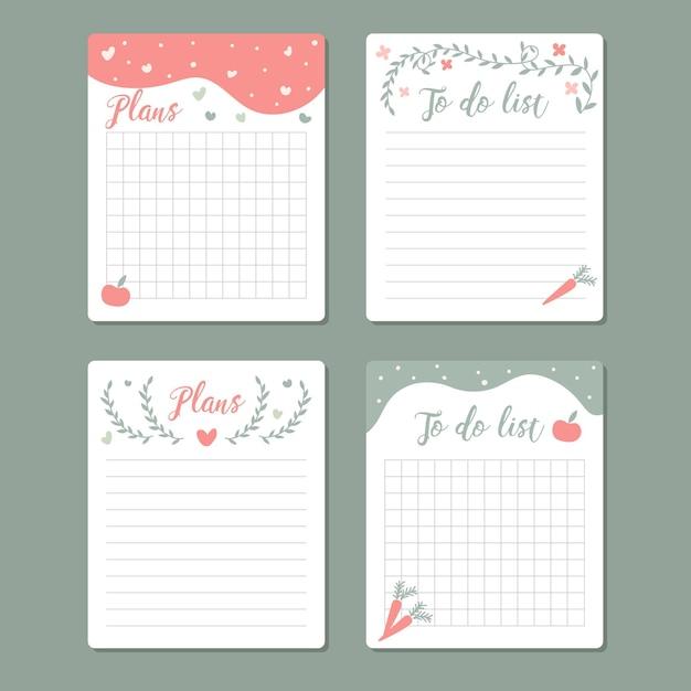 Mooie verzameling plakboeknotities en kaarten Premium Vector