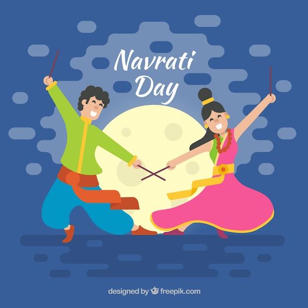 Mooie viering achtergrond van navratri met een paar dansen Gratis Vector
