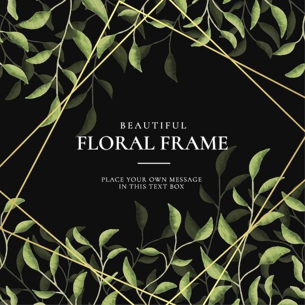 Mooie vintage floral frame achtergrond met aquarel hand getrokken bladeren Gratis Vector