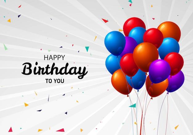Mooie vliegende kleurrijke de vieringsachtergrond van de ballons gelukkige verjaardag Gratis Vector