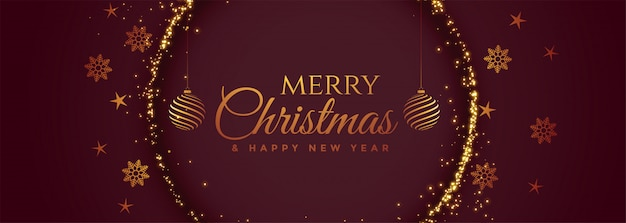 Mooie vrolijke decoratieve de banner van het kerstmisfestival Gratis Vector