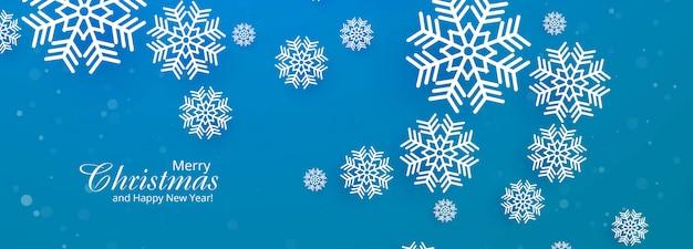 Mooie vrolijke kerst sneeuwvlok blauwe banner Gratis Vector