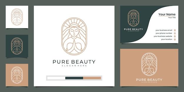 Mooie vrouw gezicht bloem ster met lijn art stijl logo en visitekaartje Premium Vector