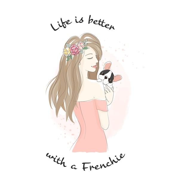 Mooie vrouw met franse bulldog pup doodle lijn kunststijl Premium Vector