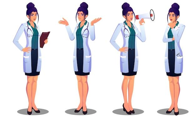 Mooie vrouwelijke arts verschillende emoties, verward, denken, aankondigen en permanent bestand uiten Premium Vector
