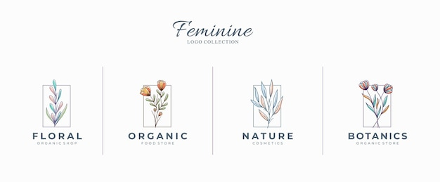 Mooie vrouwelijke botanische logo's met handgetekende bloemen Premium Vector