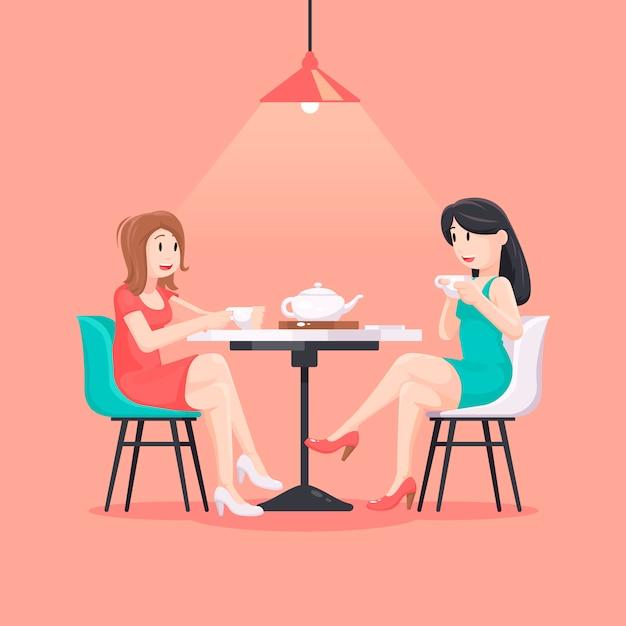 Mooie vrouwen in een koffieillustratie Premium Vector