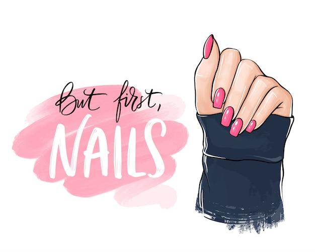 Mooie vrouwenhand met roze nagellak. handgeschreven letters over nagels. Premium Vector