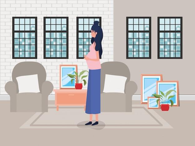 Mooie vrouwenzwangerschap in de woonkamer scène Gratis Vector