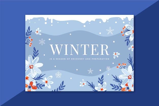 Mooie winterkaart met bloemen Gratis Vector