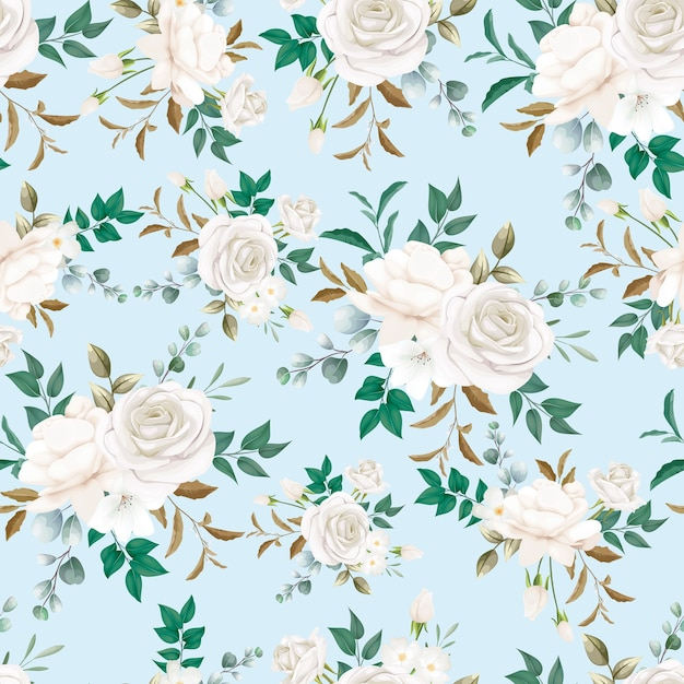 Mooie witte bloemen naadloze patroon Gratis Vector