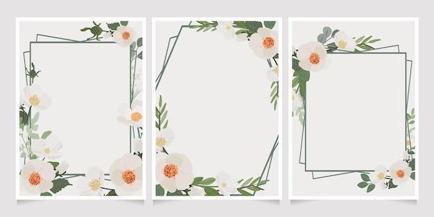 Mooie witte camellia krans frame uitnodigingskaart Premium Vector
