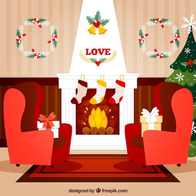 Mooie woonkamer met kerst decoratie vector premium download - Decoratie kamer thuis woonkamer ...