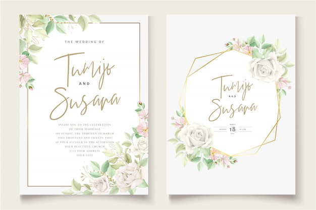 Mooie zachte bloemen en bladeren bruiloft uitnodigingskaart Gratis Vector