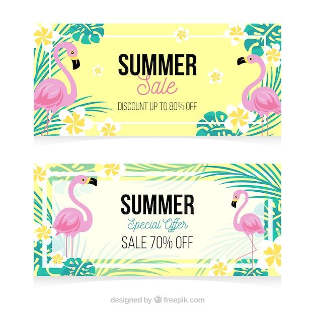 Mooie zomer verkoop banners Gratis Vector