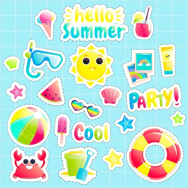 Mooie zon en krab en watermeloen en strandbal Gratis Vector