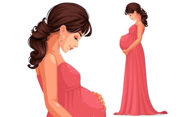 Mooie zwangere vrouw, gekleed in lange roze jurk met haar buik Premium Vector