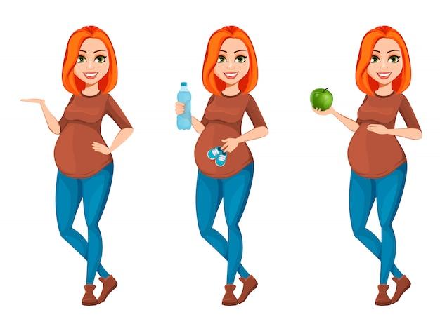 Mooie zwangere vrouw stripfiguur Premium Vector