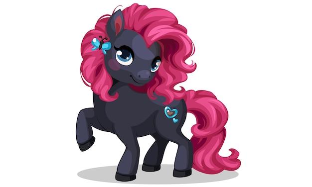 Mooie zwarte gekleurde kleine pony met roze kapsel vectorillustratie Gratis Vector