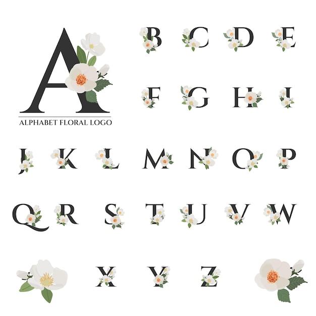 Mooie zwarte serif bloemen alfabet collectie Premium Vector