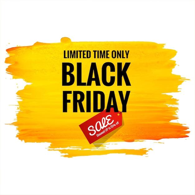 Mooie zwarte vrijdag verkoop poster voor oranje penseel aquarel achtergrond Gratis Vector