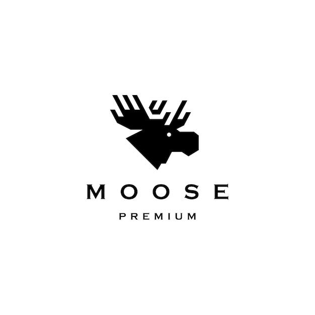 Moose hoofd logo vector pictogram illustratie Premium Vector