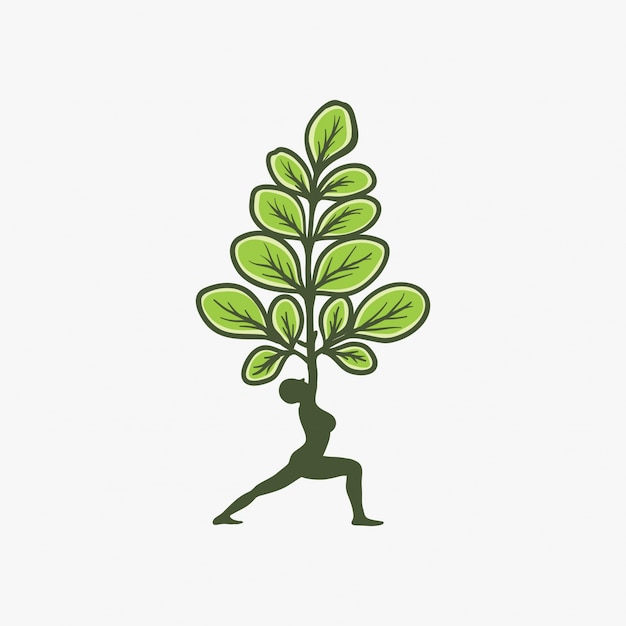 Moringa-logo ontwerp Premium Vector