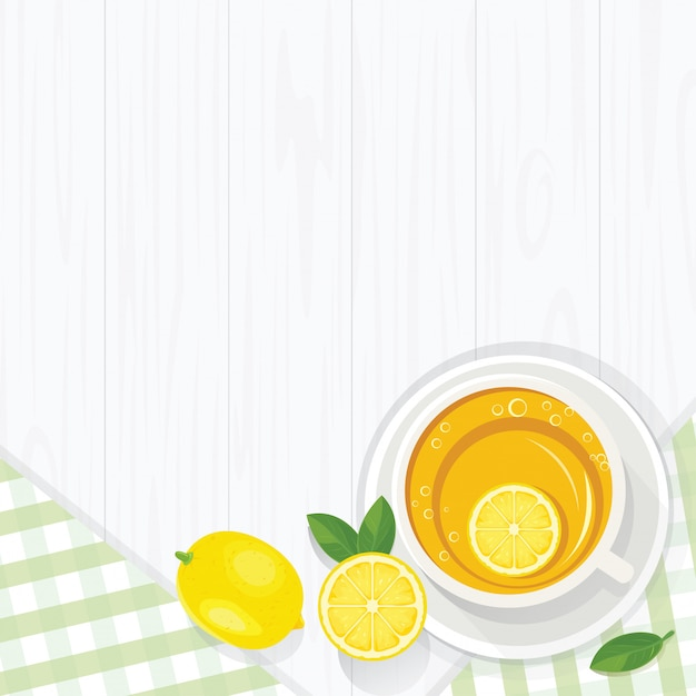 Morning lemon tea Premium Vector