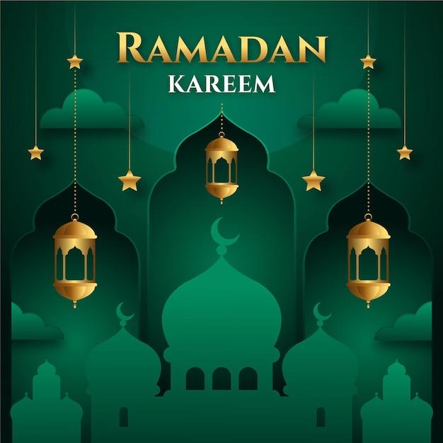 Moskee in zwart-wit groene tinten eid mubarak Gratis Vector