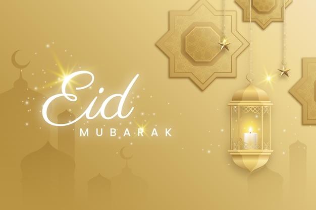 Moskee silhouet en kaars plat ontwerp eid mubarak Gratis Vector