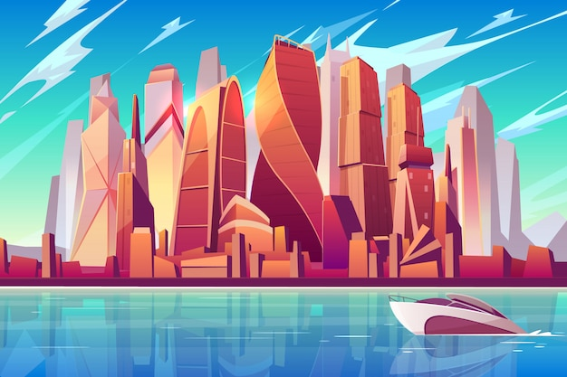 Moskou stad skyline cartoon panoramische achtergrond met internationale business-centrum Gratis Vector