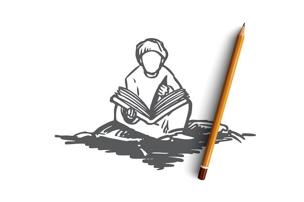 Moslim, arabier, islam, religie, koran, jongen, kindconcept. hand getekende moslimjongen zitten en lezen koran concept schets. Premium Vector