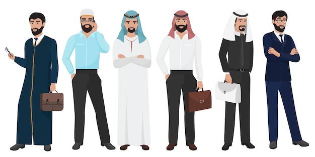 Moslim arabische zakenmanmensen Premium Vector