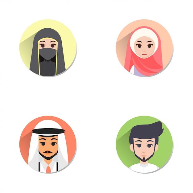 Moslim avatar Premium Vector