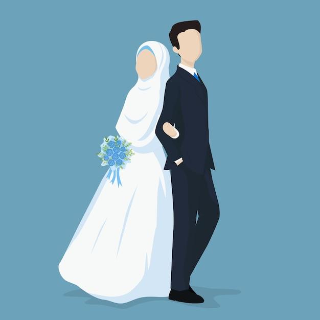 Moslim bruid en bruidegom Premium Vector