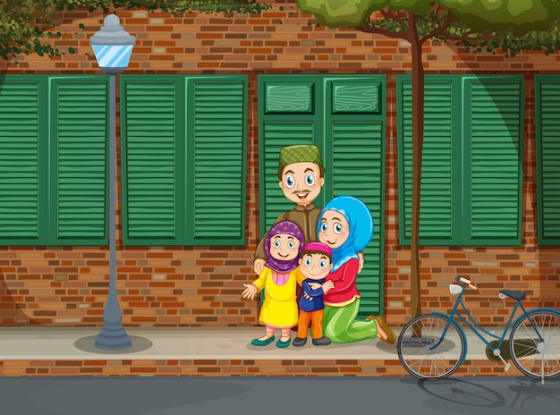Moslim familie op de stoep Premium Vector