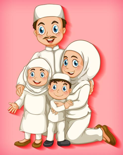 Moslim familielid op cartoon karakter kleurverloop achtergrond Gratis Vector