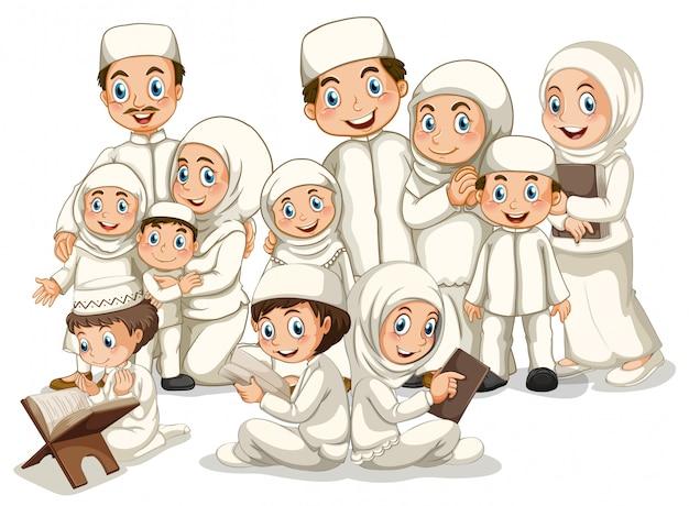 Moslim gezin Gratis Vector