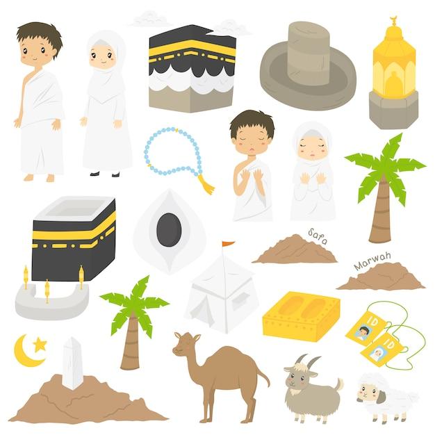 Moslim hadj en umrah, personages en bezienswaardigheden illustratie Premium Vector
