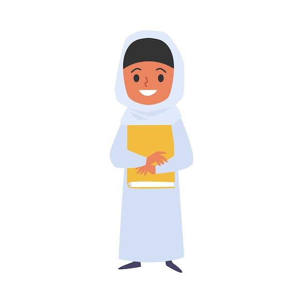 Moslim kind meisje met boek cartoon karakter illustratie. Premium Vector